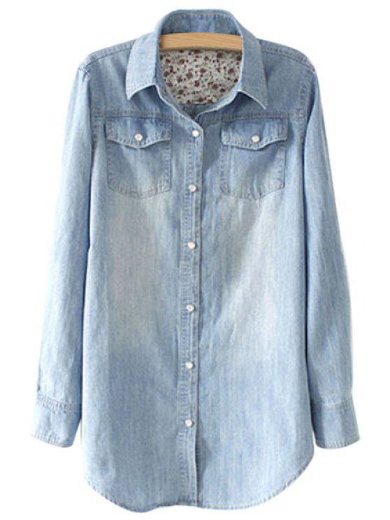 new Denim Long Sleeve Pockets Shirt - LIGHT BLUE S