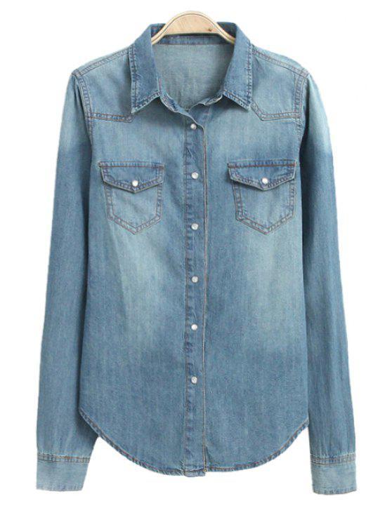 shops Pocket Denim Long Sleeve Shirt - BLUE S