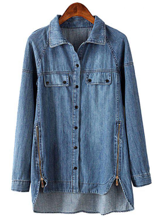 chic Zipper Denim Long Sleeve Shirt - BLUE S