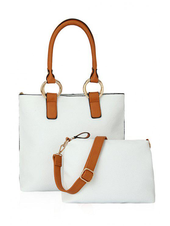 outfit Color Block Rhings Shoulder Bag - WHITE