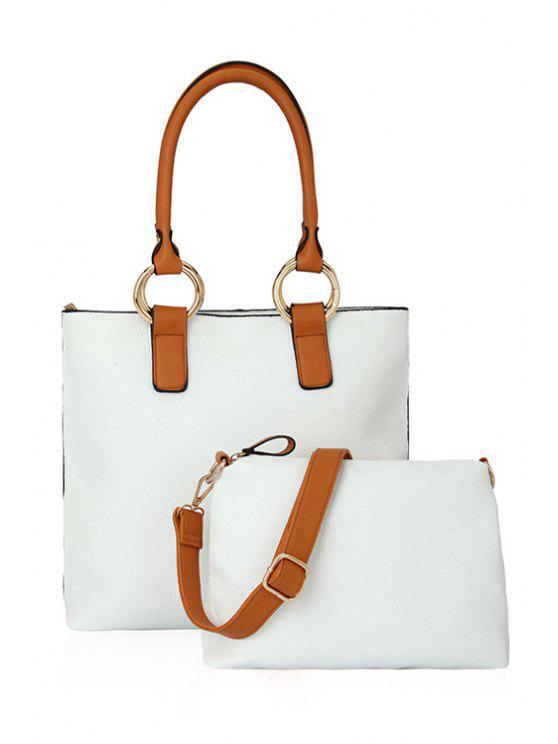 Color Block Rhings Shoulder Bag - Blanc