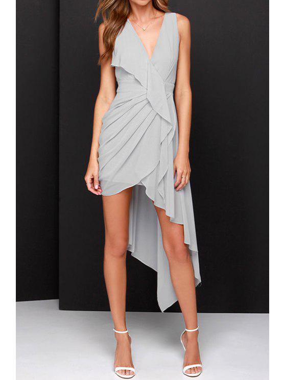 hot Grey V Neck Asymmetric Ruffle Dress - GRAY S