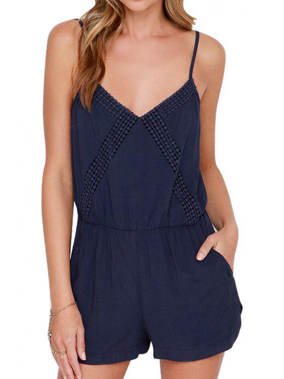 sale Navy Spaghetti Strap Backless Romper - BLUE M