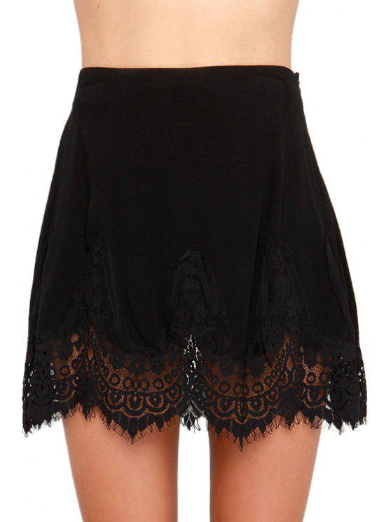 women's Black with Lace Skirt - BLACK L