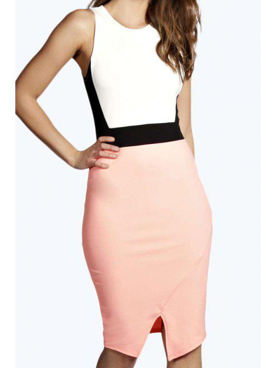 fashion White Sleeveless Color Block Dress - PINK AND WHITE S
