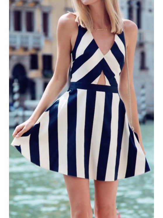 women White Navy Sleeveless Striped Flare Dress - BLUE AND WHITE L