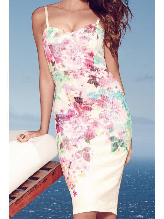 chic White Spaghetti Strap Floral Print Dress - WHITE S