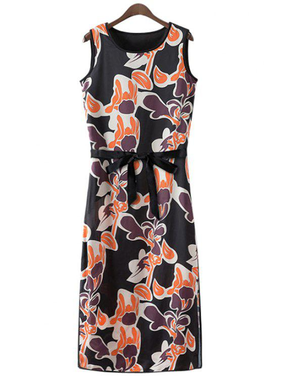 womens Print Side Slit Sundress - ORANGEPINK S