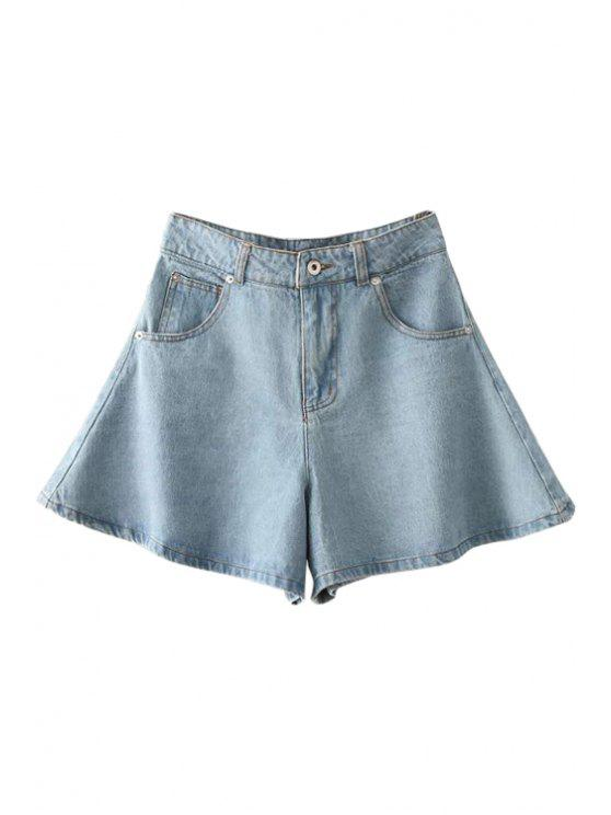womens Solid Color Wide Leg Denim Shorts - LIGHT BLUE S