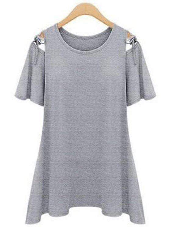 shop Solid Color Short Sleeve Lace-Up T-Shirt - GRAY S