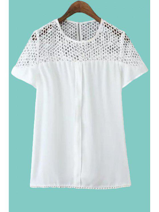womens Openwork Lace Splicing Solid Color T-Shirt - WHITE S