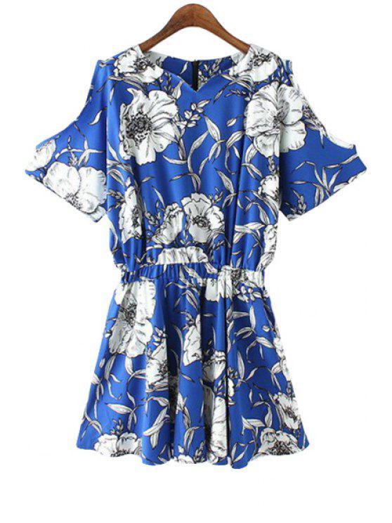ladies Floral Short Sleeve Off The Shoulder Romper - BLUE S