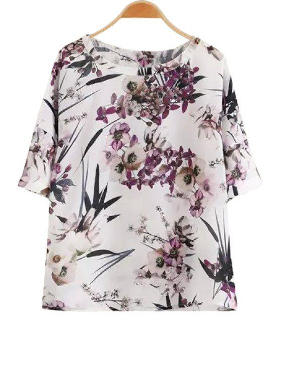 online Floral Leaves Print Short Sleeve T-Shirt - PURPLE S