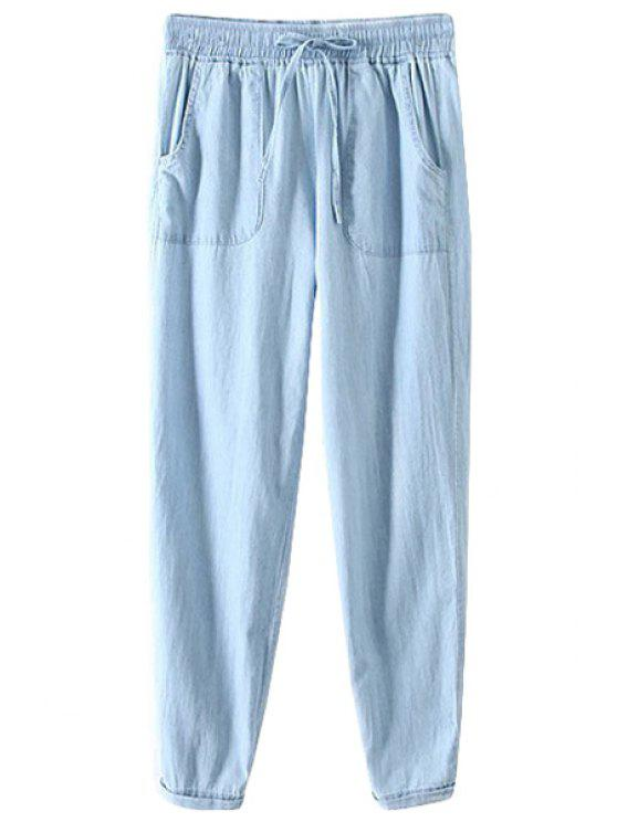 buy Solid Color Drawstring Denim Pants - BLUE S
