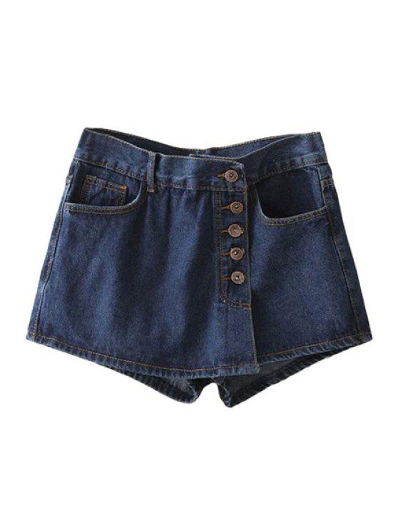 new Solid Color Single-Breasted Denim Skirt - DEEP BLUE S
