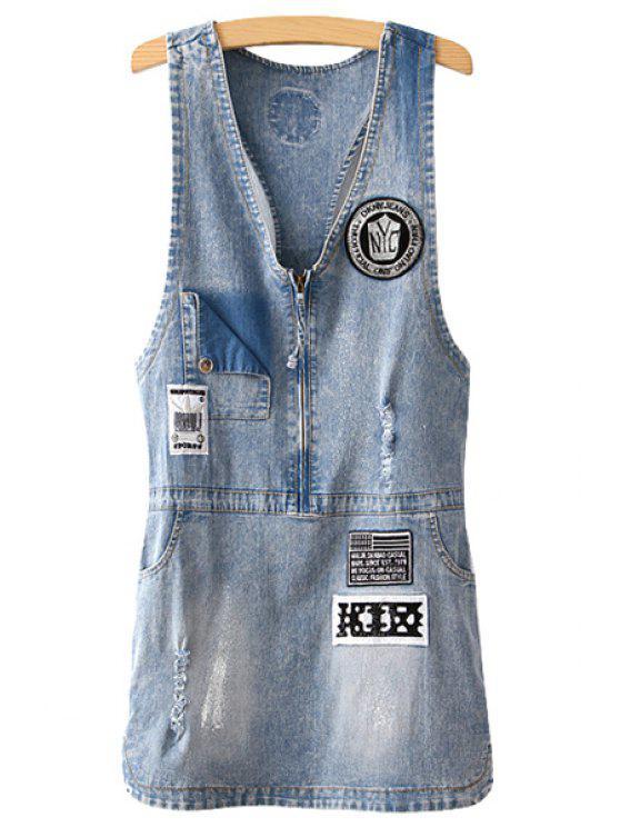 chic Patch Design Sleeveless Denim Dress - BLUE M