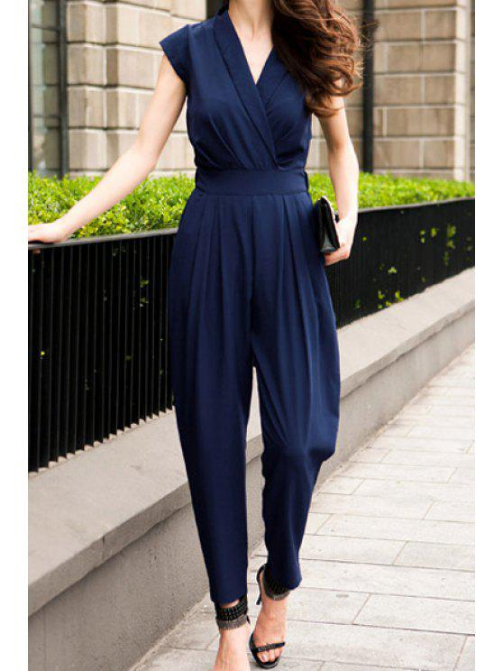 shop V-Neck Solid Color Jumpsuit - BLUE S