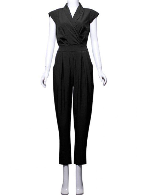online V-Neck Solid Color Jumpsuit - BLACK S