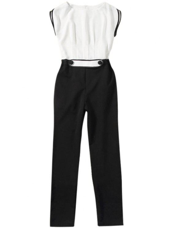 trendy Color Block Short Sleeve Jumpsuit - WHITE AND BLACK S