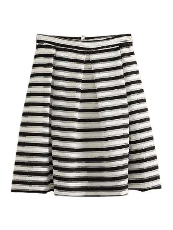 outfits Stripe Ruffle Voile Zipper Fly Skirt - WHITE AND BLACK S