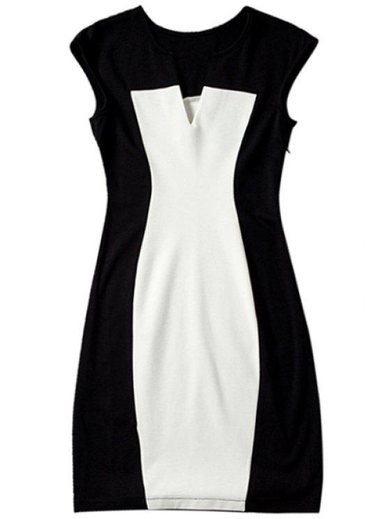 best Color Block V Neck Bodycon Dress - WHITE AND BLACK S