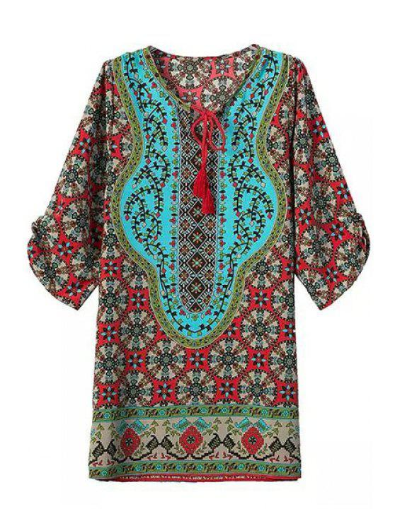 womens Tie-Up Color Block Print Half Sleeve Dress - FLAX GREEN S