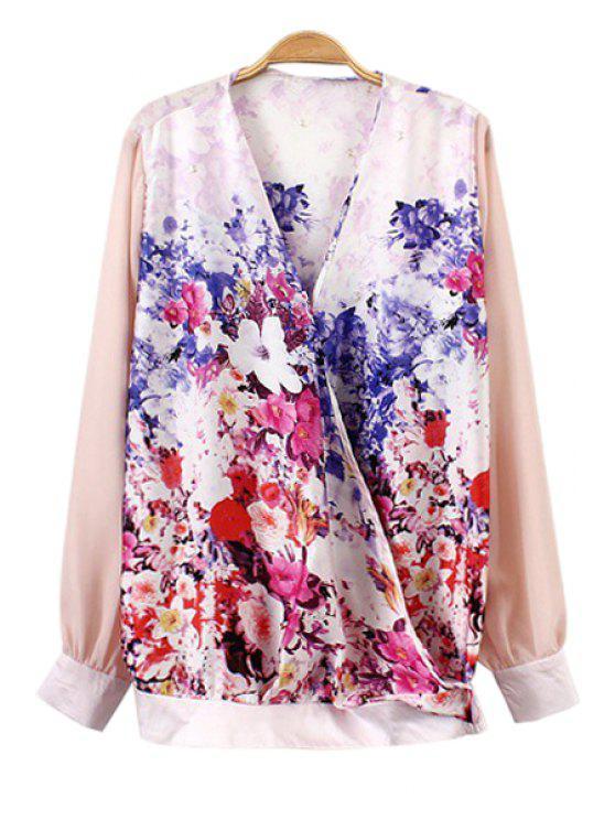 trendy V-Neck Floral Print Long Sleeve Shirt - COLORMIX S