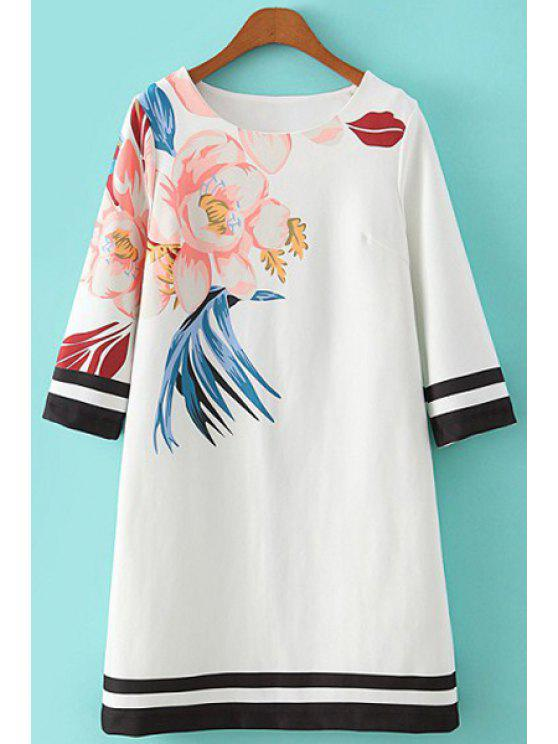 ladies Floral Print Stripe Half Sleeve Dress - WHITE S