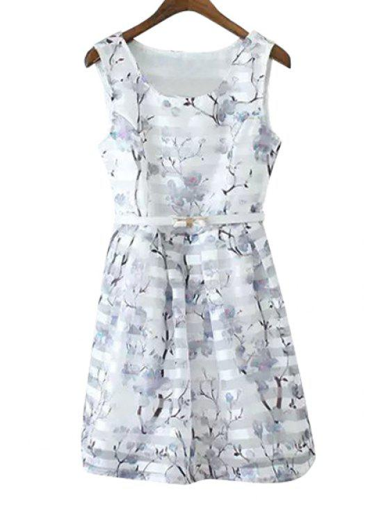 outfit Floral Print Stripe Belt Sleeveless Dress - WHITE S