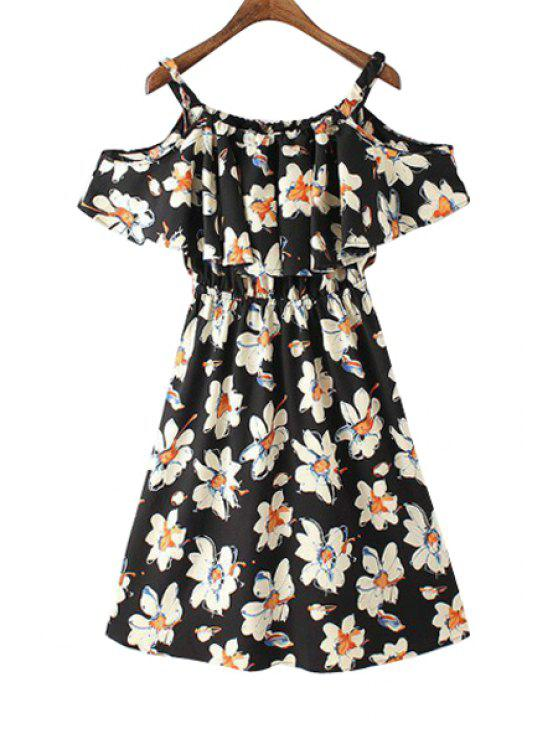 shops Floral Print Off The Shoulder Flounce Splicing Dress - BLACK S