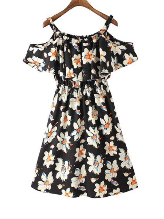 shops Floral Print Off The Shoulder Flounce Splicing Dress - BLACK S