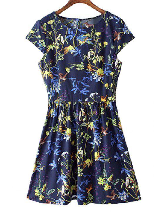unique Leaves Birds Print Short Sleeve Dress - PURPLISH BLUE S