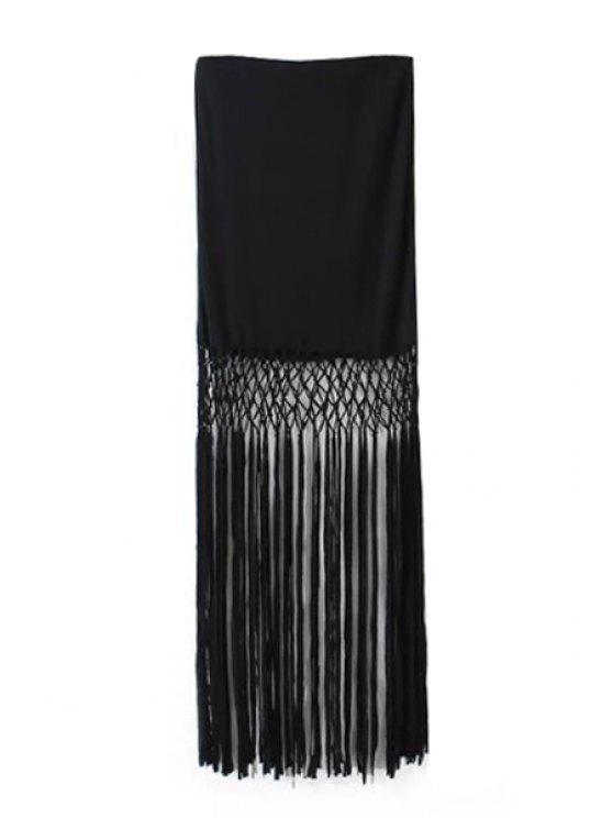 ladies Solid Color Tassel Splicing Skirt - BLACK S