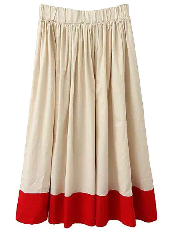 online Color Block Elastic Waisted Skirt - KHAKI ONE SIZE(FIT SIZE XS TO M)