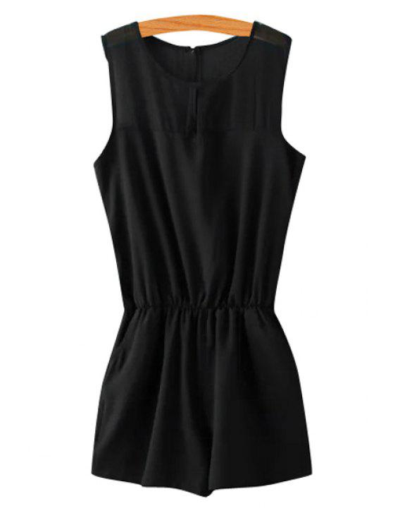 fashion Solid Color Elastic Waist Sleeveless Romper - BLACK S