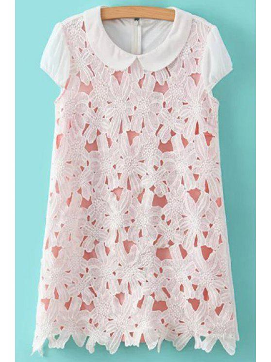 shops Peter Pan Collar Crochet Flower Dress - PINK AND WHITE S