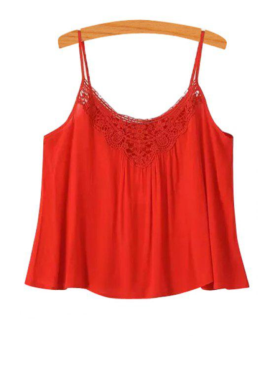 ladies Spaghetti Strap Solid Color Openwork Tank Top - RED S
