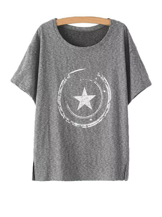 best Star Pattern Short Sleeve T-Shirt - GRAY ONE SIZE(FIT SIZE XS TO M)