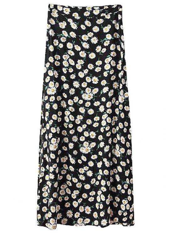 hot Tiny Floral Print A-Line Maxi Skirt - BLACK S