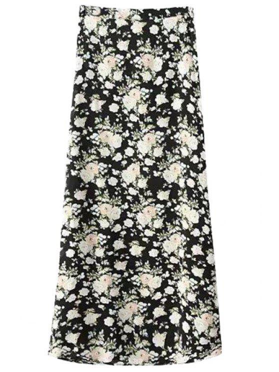 latest Floral Black A-Line Skirt - BLACK S