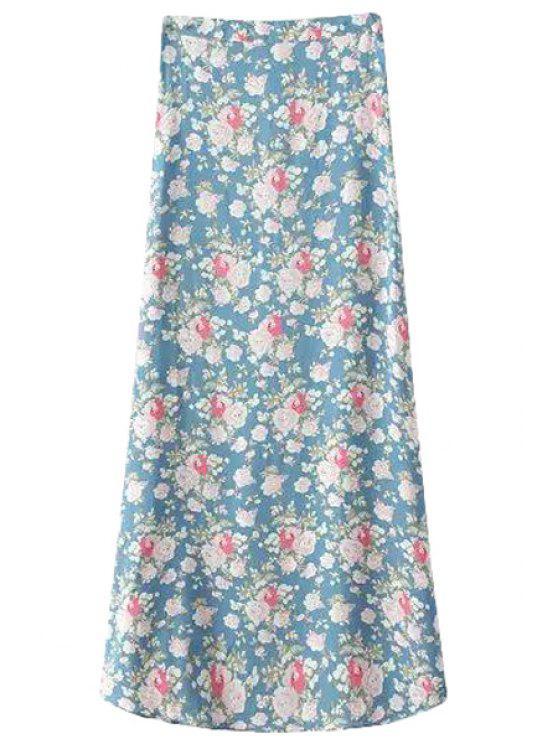 unique Full Floral Pattern A-Line Skirt - LIGHT BLUE S