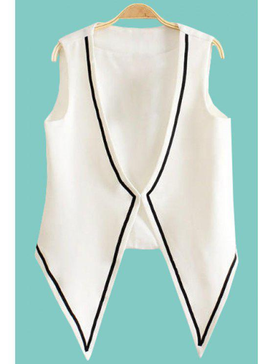 online Color Block V Neck Waistcoat - WHITE S