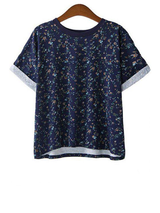 new Tiny Floral Print Short Sleeve T-Shirt - BLUE M