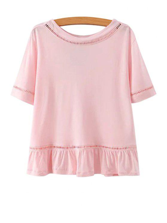 shops Solid Color Ruffled Short Sleeve T-Shirt - PINK L
