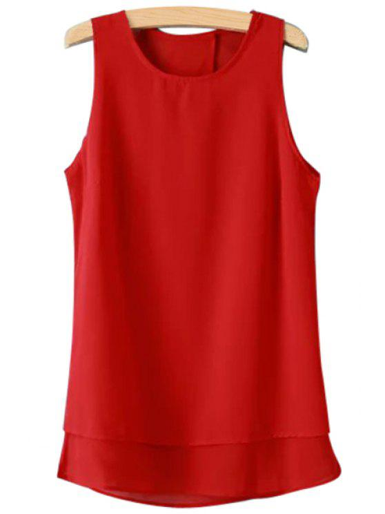 chic Solid Color Sleeveless Chiffon Blouse - RED S