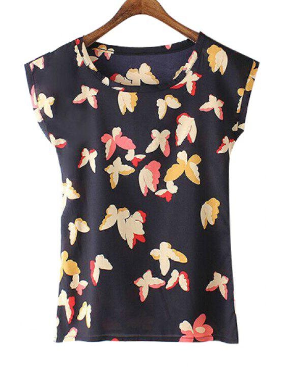 latest Butterfly Print Short Sleeve Chiffon T-Shirt - BLACK S