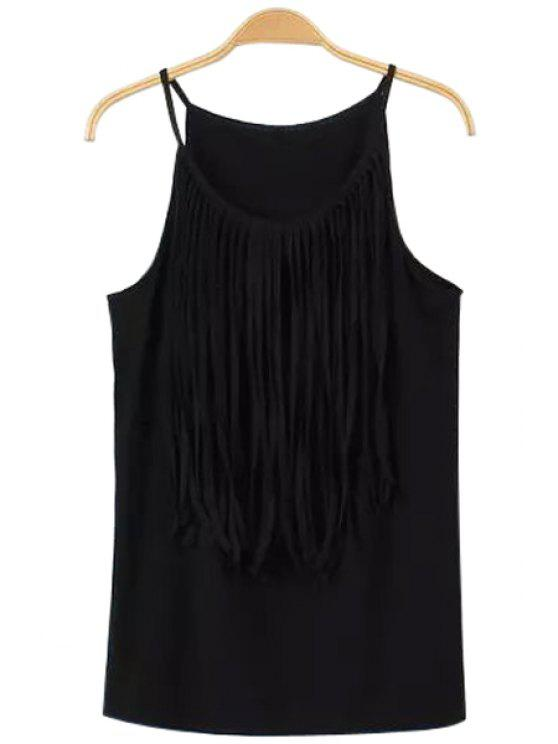 ladies Tassels Spaghetti Straps Tank Top - BLACK L
