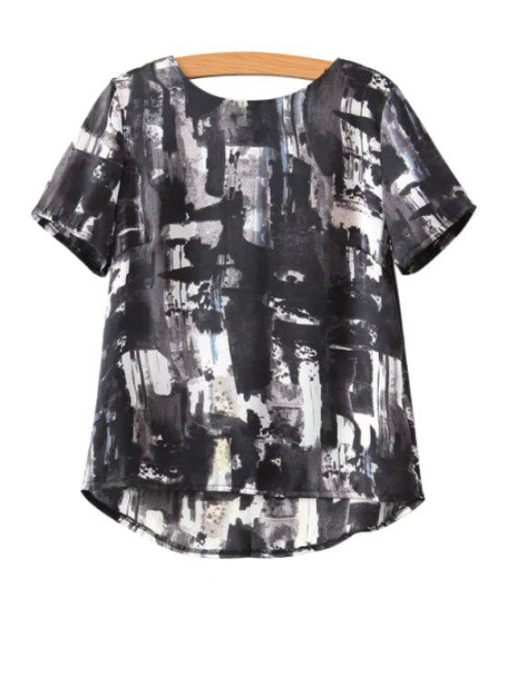 chic Ink Print Short Sleeve T-Shirt - WHITE AND BLACK S