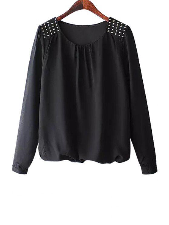sale Solid Color Rivet Long Sleeve Blouse - BLACK S