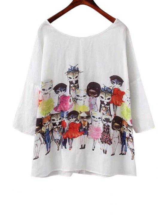 online Cat Print 3/4 Sleeve Linen T-Shirt - WHITE S